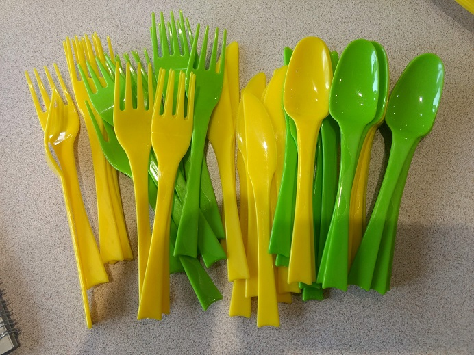 plastic plates, bowls and cutlery